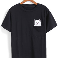 Cat Patch With Pocket T-shirt -SheIn(Sheinside)
