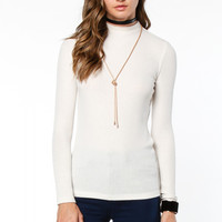 Ivory Fitted Mock Neck Top