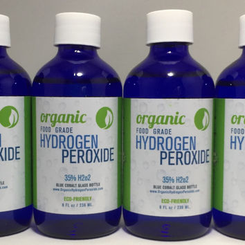 35% Hydrogen Peroxide 4 GLASS BOTTLES - 8 oz Bottles