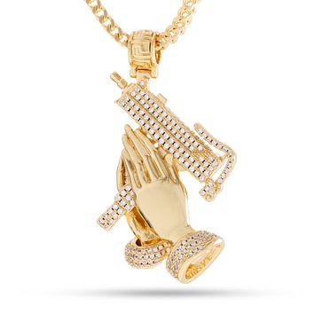 The 14K Gold Praying Hands of Defense Necklace