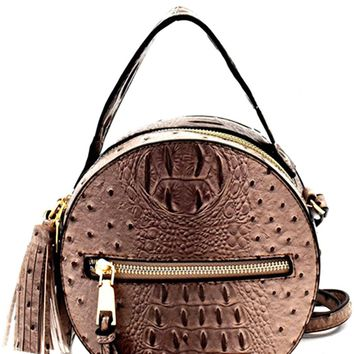 NARNI OSTRICH EMBOSSED ROUND BAG - STONE
