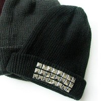 Studded Square Pyramid Beanie Silver