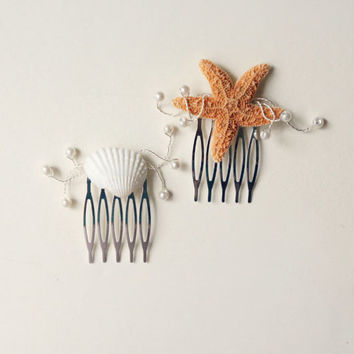 Summer beach wedding hair combs set, Starfish hair comb, Shell hair comb, Beach wedding hair, Summer bridal head piece, destination wedding