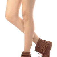 Tan Faux Suede Moccasin Fringe Ankle Boots