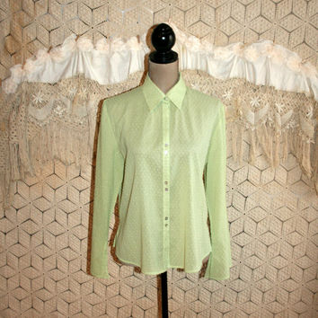 Lime Green Blouse Spring Blouse Swiss Dot Boho Blouse Long Sleeve Blouse Button Up Blouse Women Blouses Medium Large Womens Clothing
