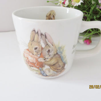 Beatrix Potter vintage mug, Benjamin Bunny,Peter Rabbit,Baby keepsake, Beatrix Potter china, Peter Rabbit, Beatrix Potter gift, Newborn gift