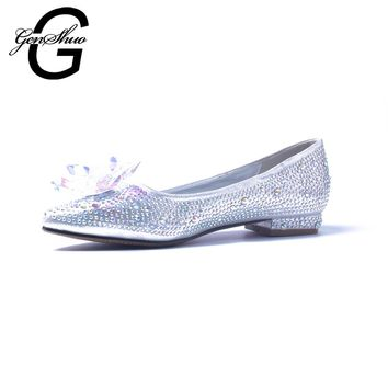 GENSHUO New Crystal Flat Shoes For Women Wedding Shoes Flats Pointed Toe Ballet Shoes