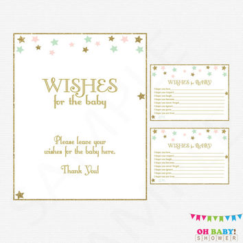 Wishes for Baby, Twinkle Twinkle Little Star Baby Shower, Pink Mint Gold Baby Shower. Girl Baby Shower DIY Printable Instant Download STPMG