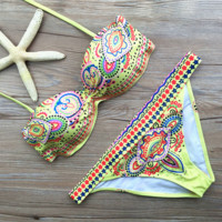 HOT YELLOW TOTEM PRINT TWO PIECE BIKINIS SWIMWEAR BATHSUIT
