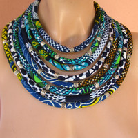 Blue African necklace- Multi Strand Statement Bib Summer Jewelry