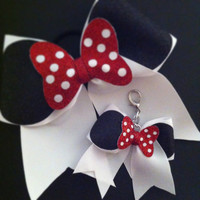 Glitter Minnie Mouse Cheer Bow Keychain