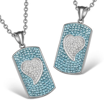 Magic Hearts Austrian Crystal Love Couples or Best Friends Dog Tag Aqua Blue White Charm Necklaces
