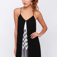 Between the Lines Black and Ivory Slip Dress