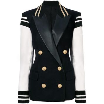 Leather Patchwork Double Breasted Blazer Jacket