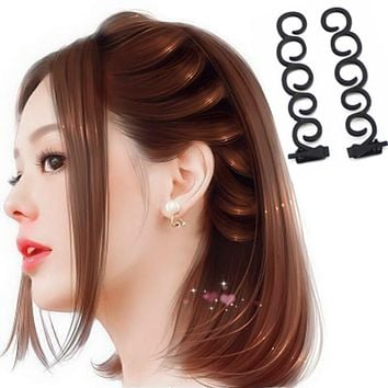 M MISM 2 PCS Fashion Ladies Donut Bun Maker Magic Easy Braid Women Korean Round Hair Disk Device Tress DIY Hair Style Tools