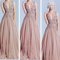Sleeveless V-Neck A-Line Prom Dresses