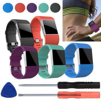 Soft Silicone Replacement Watch Band Strap + Tool Kit for Fitbit Surge Wristband