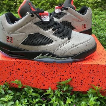 Air Jordan Retro 5 Low Neymar 10 Reflective Silver 3M Infrared Basketball Shoes Men 5s Neymar Cement Grey Sneakers With Shoes Box