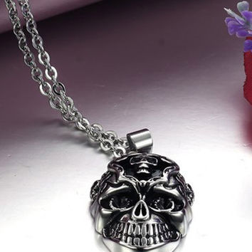 Skeleton Barrel Clasp Stainless Steel Necklace