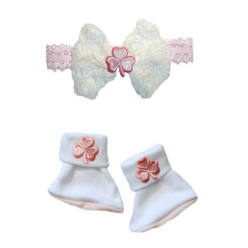 Baby Girls' Pink Shamrock Irish Booties and Headband Set