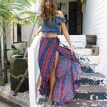 2018 style bohemian beach skirts printing split skirts New women's skirts boho ankle-length skirts holiday pleated skirts
