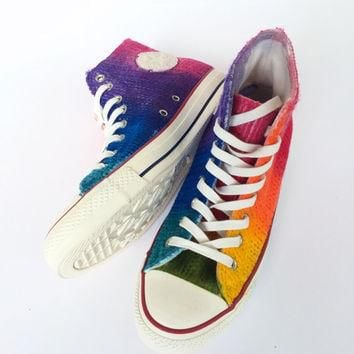 Rainbow Tie Dye Cable Knit Fall and Winter Sweater Converse
