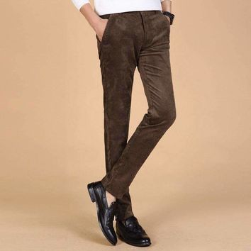 2018 New Arrival Spring and Autumn Men Corduroy Pants Solid Color Mid-waist Slim Business Affairs Directly Canister Casual