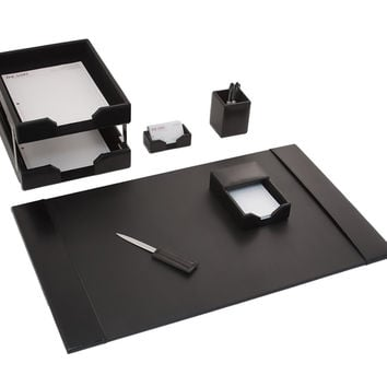 Dacasso School Office Boardroom Meeting Table Top Accessories Black Leather 8-Piece Econo-Line Desk Set