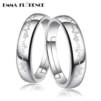 Sterling Silver Couple Rings For Women 'Heartbeat For Lovers' Engagement Wedding Band Rings Hot Selling Adjustable Ring Bijoux