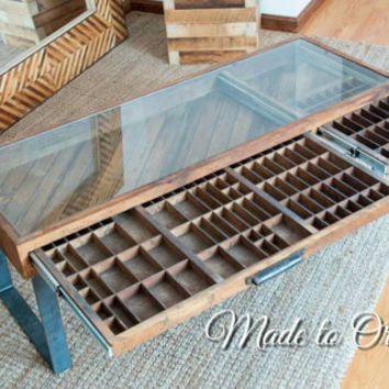 Reclaimed Wood Printer Drawer Coffee table - 2 Drawer.