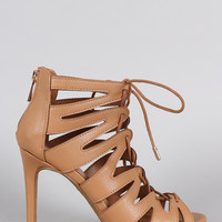 Strappy Lace Up Peep Toe Stiletto Heel