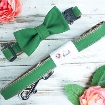 Forest Green Dog Collar with Removable Bow Tie or Flower