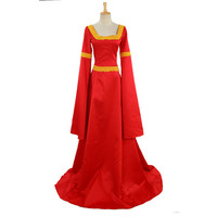Women Red Floor Length Long Retro Vintage Palace Medieval Queen Dress Halloween Costumes