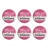 Wilma Hello My Name Is Plastic Resin Button Set of 6