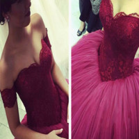Custom Made Off Shoulder Sweetheart Neck Floor Length Prom Dress, Prom Gowns