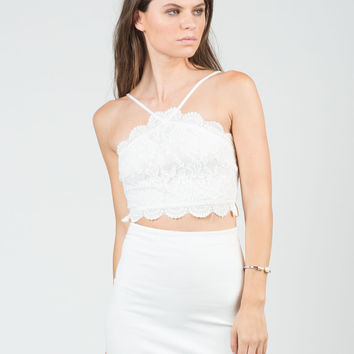 Floral Lace Cropped Top - Medium