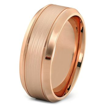 Mens Rose Gold Wedding Band 8mm Tungsten Carbide Brushed Man Engagement Ring Male Anniversary Promise Female His Hers Matching Polished Beveled Edges