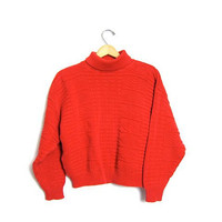 Plain Red Cropped Sweater Slouchy 90s Textured Tribal Knit Boxy Turtleneck Basic Jumper Boho Hipster Vintage Small Medium Hipster Girl