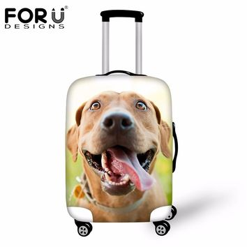 FORUDESIGNS Cute 3D Dog Waterproof Travel Luggage Cover Elastic Thick Suitcase Rain Cover S/M/L To 18-30 Inch Trunk Case Storage