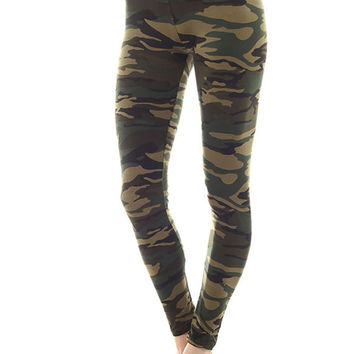 Women's Regular Military Pattern Print Leggings - Olive Brown