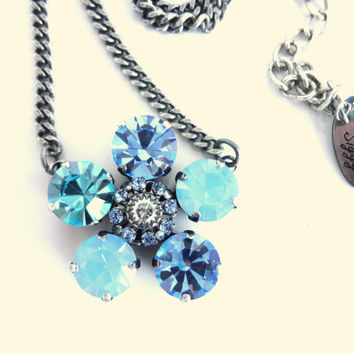 Swarovski crystal necklace, chunky daisy pendant, flower pendant, sapphire, shabby chic better, than sabika