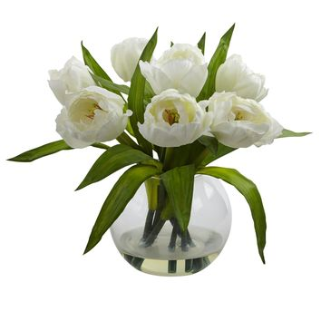 Artificial Flowers -White Tulips Arrangement With Vase Silk Flowers