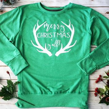 """Merry Christmas Y'all"" Green Graphic Sweatshirt"