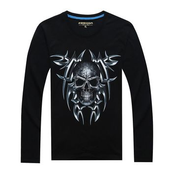 Skull Print T-shirt Men 3D long Sleeve hip hop tshirt Plus Size Tops Male Tee Brand Design