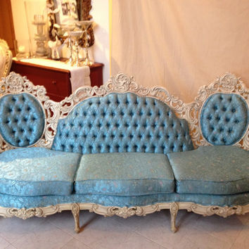 Vintage Baroque Sofa With Carved Wood Antique White Finish and Teal Blue Floral Brocade Upholstery