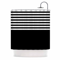 "Trebam ""Roletna"" Black White Shower Curtain"