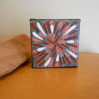 Painting Flower Red and Pink Aboriginal Inspired by Acires on Etsy