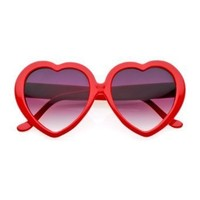 80's - 'Love' Heart shaped sunglasses (More Colors) - Red / Smoke