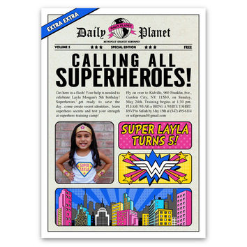 Comic Book Superhero Birthday Invitations (Pink)