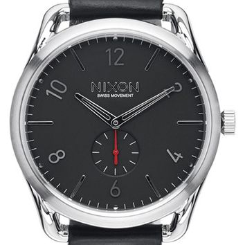 Nixon 'The C45' Leather Strap Watch, 47mm - Black/ Silver